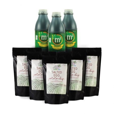 Wellness Snack Pack! 3x 1L M2 Tea Drink & 5x Salted Egg Chips