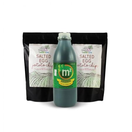 Wellness Snack Pack! 1x 1L M2 Tea Drink & 2x Salted Egg Chips